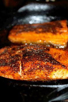 Blackened Salmon with Yellow Rice & Broccoli with Gorgonzola Cream Sauce-Creole Contessa