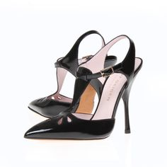 Carrie by Kurt Geiger London: A 1920s style pump in Italian black patent leather