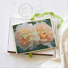 Peach Roses Personalized Congratulations Jumbo Shortbread Cookie - rose style gifts diy customize special roses flowers