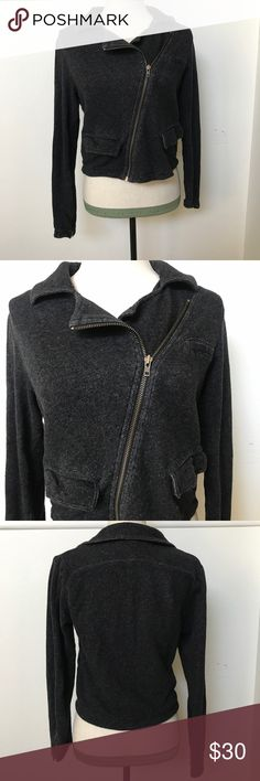 "[Cabi] Moto Sweater Jacket Preloved, good condition, normal signs of wear throughout. Moto lightweight jacket zip front.  Laying flat sleeve approx 24"", underarm to underarm 18"", length approx 19"". ***#1-394 CAbi Jackets & Coats"