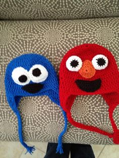 Hand Crocheted Cookie Monster and Elmo