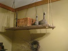 What a great idea! A hanging shelf to extend your primitive decorating!!!!!!!!!!!!