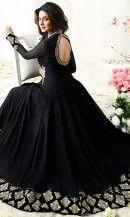 Black Designer Floor Length Anarkali Suit -SUEMUG1108