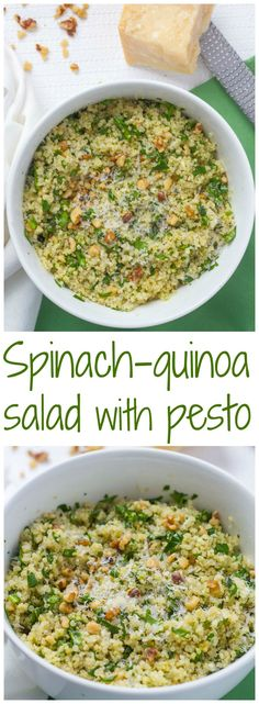 Quinoa and spinach salad with pesto is an easy dinner side dish or vegetarian lunch | FamilyFoodontheTable.com