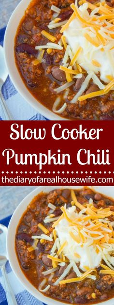 he perfect fall recipe that your family is going to love. Simple Slow Cooker Pumpkin Chili is the perfect meal for a cool fall day and your house will smell amazing with this cooking all day! Best Slow Cooker, Slow Cooker Recipes, Real Food Recipes, Crockpot Recipes, Soup Recipes, Chili Recipes, Crockpot Dishes, Thanksgiving Dinner Recipes, Kitchens