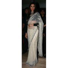 Bollywood Designer Deepika Padukon White House Net Fabric Saree HEL1207