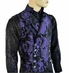 SHRINE GOTHIC VAMPIRE CAVALIER VEST JACKET VICTORIAN PURPLE TAPESTRY STEAMPUNK