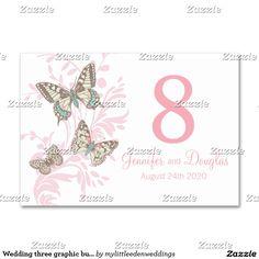 Nome gráfico Wedding e data de três borboletas