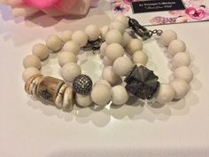 """Spring and Summer 2017 🦋 Le Trunque Collections stack bracelets~ By Kelly Strasius Fossilized 12 mm coral beads, elk horn, large staurolite focal bead, pave diamond spacers, pave diamond ball bead, diamond lobster clasp.  """"Find Your Wild"""""""
