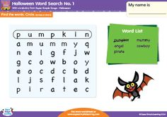 Halloween Word Search #1 for kids from Super Simple Learning. #kindergarten #ESL