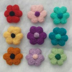 Springtime needle felted brooches