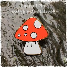 Toadstool enamel pin! ❤️ Now available from my Etsy shop https://www.etsy.com/uk/listing/489468057/toadstool-enamel-pin-by-whimsical-lush #toadstool #enamelpin #pingamestrong #pin