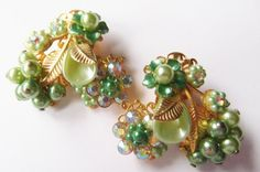 Vintage Earrings 50's Signed Beaujewels Flower with Rhinestones Clip on lot bje2 #SignedBeaujewel #VintageClipon