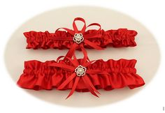 Red Satin Wedding Garter Set with Charms Bridal by StarBridal