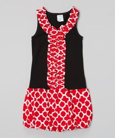 Loving this Red Quatrefoil Ruffle Bubble Dress - Toddler & Girls on #zulily! #zulilyfinds