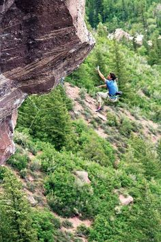 Sonnie Trotter, taking a whipper on Judas Goat, 5.14a, in Redstone, CO. Photo by Jon Jonckers