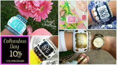 Monogrammed bangle bracelets, jewelry ... Columbus Day sale!!?