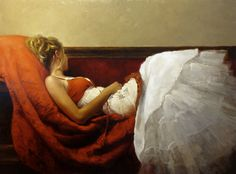 """""""Lindsey in Red and White"""" - 36 x 48 in. Oil on Panel 2009"""