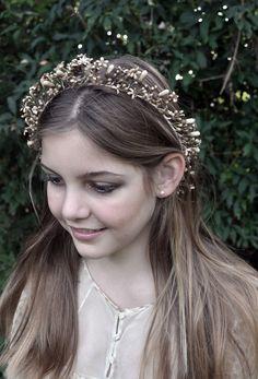1920s Antique FRENCH ivory beige WAX buds flowers GARLAND Victorian headdress hair tiara wreath crown Wedding Art Deco Flapper Bridal Wiccan