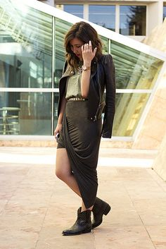 Draped jersey skirt, leather jacket, and boots