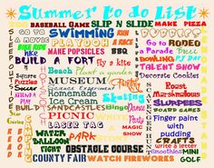 Summer To Do List... We have already done most of this! Great for ideas!