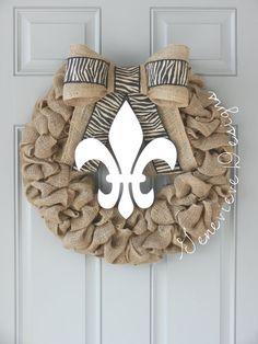 Burlap Wreath  Louisiana  Wedding Gift GenevieveDesignsBR