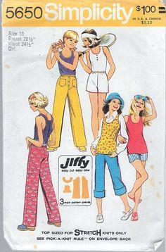 Vintage 1973 Simplicity 5650 Girls' Jiffy Top & Pants in