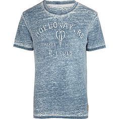 Blue burnout Holloway Road print t-shirt - branded t-shirts - t-shirts / vests…