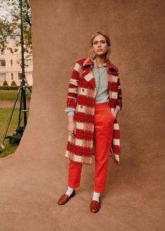 Scott Coat - Tartan large check - Virgin wool - Sézane Transport Routier, Red Tiles, Parisian Style, Tartan, Winter Fashion, Cool Outfits, Style Inspiration, Wool, My Style