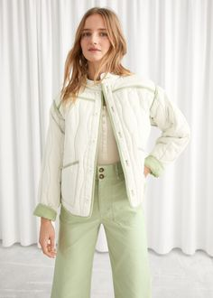 Reversible Lyocell Linen Quilted Jacket - Green White - Jackets - & Other Stories Fashion Story, Green Jacket, Spring Summer Fashion, Mantel, Personal Style, White Jackets, Casual, My Style, How To Wear