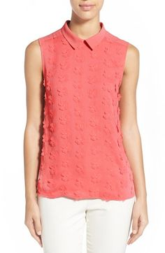 Halogen® Floral Front Collared Top (Regular & Petite) available at #Nordstrom