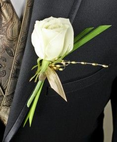WHITE ROSE GLITTER Prom Boutonniere in Indianapolis, IN - CUMBERLAND FLOWERS