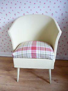 Lloyd Loom Chair with Tartan Seat Painted in Laura Ashley Faded Gold EggShell