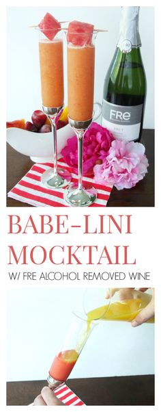 Msg 4 21+  The perfect baby shower cocktail! This Babe-lini Mocktail is a fun spin on a Bellini cocktail, but since it's made with FRE Alcohol-Removed Brut Wine, it's safe for excepting Mothers or a great cocktail for new Mothers! It includes a puree of strawberries, peaches, and watermelon to make this a refreshing and sweet drink!   #AD #CollectiveBias #MomsSipSmart // www.ElleTalk.com