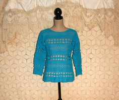 Hippie Boho Crochet Top Crochet Sweater Top Blue by MagpieandOtis