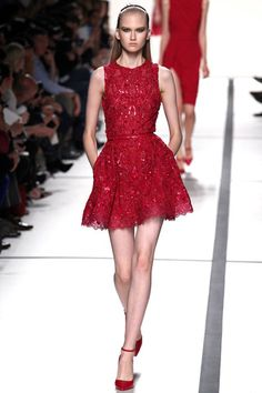 Elie Saab Spring 2014 Ready-to-Wear Collection Slideshow on Style.com - red mini skater dress, just my colour.