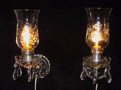 2 RESTORED Vintage Antique Clear Glass Wall Hanging Sconce Lamp Lights w/ Prisms