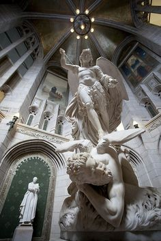 Marble sculpture of the Archangel Michael overpowering Lucifer , Gasson Hall Boston College Angels Among Us, Angels And Demons, Statue Ange, I Believe In Angels, Art Sculpture, Metal Sculptures, Abstract Sculpture, Bronze Sculpture, Guardian Angels