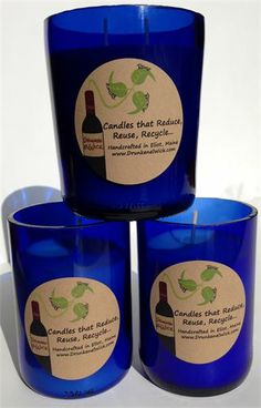 BLUE Drunken elWick - Wino Candles now available: $17.95. Fresh Cotton Scented.