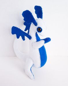 Baby Dragon felt plush stuffed animal white by LiveDreamCreate1
