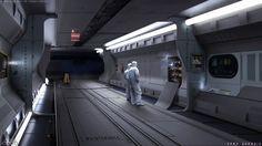 Scifi Corridor - Concept by EdonGuraziu on DeviantArt Spaceship Interior, Futuristic Interior, Futuristic City, Space Story, Sci Fi Novels, Interior Concept, Interior Sketch, Interior Design, Space Interiors