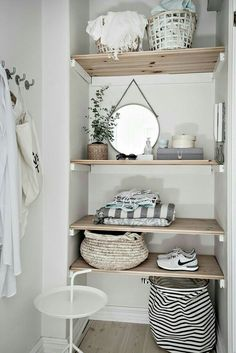 exposed shelves #hallwayideasstorage