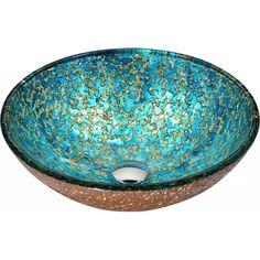 ANZZI Chrona Gold/Cyan Mix Tempered Glass Vessel Round Bathroom Sink (Drain Included) at Lowe's. The ANZZI Chrona series sink is a traditionally crafted round vessel sink adorned in a gold/cyan mix finish. Each ANZZI vessel sink if formed using RHINO