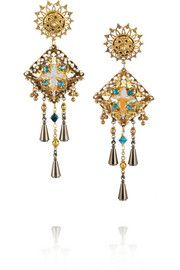 VICKISARGEBasilica oxidized gold-plated Swarovski crystal clip earrings