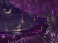 Gazing at the moons, thinking underneath a violet tree...