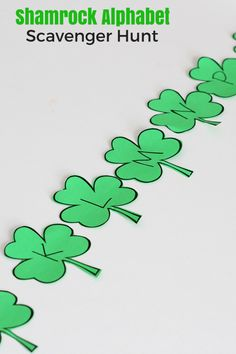 Shamrock Alphabet Scavenger Hunt. Practice letter identification and letter sounds with this fun literacy learning activity!