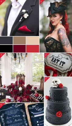 Edgy black  red   Tummanpuhuvat häät - Best Day Ever