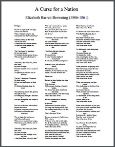 """A Curse for a Nation"" by Elizabeth Barrett Browning - Free Printable Poem (PDF File)"