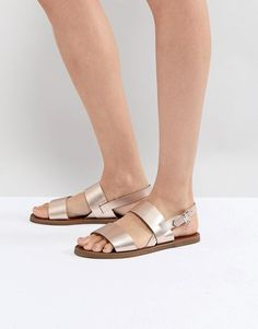 Dune | Dune Two Part Rose Gold Leather Sandal