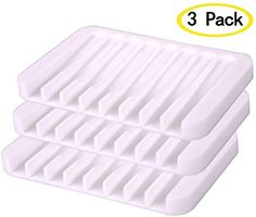 LovelyBird Silicone Soap Dish Shower Waterfall Soap Tray Soap Saver Soap Holder Drainer for Shower/Bathroom/Kitchen/Counter Top (White) Bathtub Tray, Shower Bathroom, Soap Holder, Counter Top, Kitchen Countertops, Waterfall, Dish, Packing, Stars